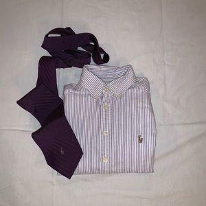 👔 3/$45 Boys 8 Ralph Lauren Striped Oxford Shirt